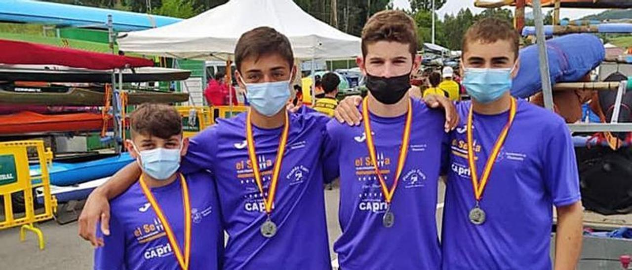 El K-4 infantil de El Sella, subcampeón de España.   J. M. C.