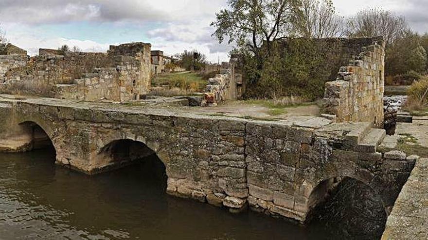 Puente de las aceñas de Gijón, donde se acumula maleza en las épocas de crecida.