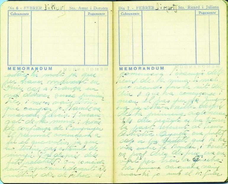 Fragment de les agendes originals del tinent Blasi, en aquest cas és la primera agenda i data del primer semestre de 1939.