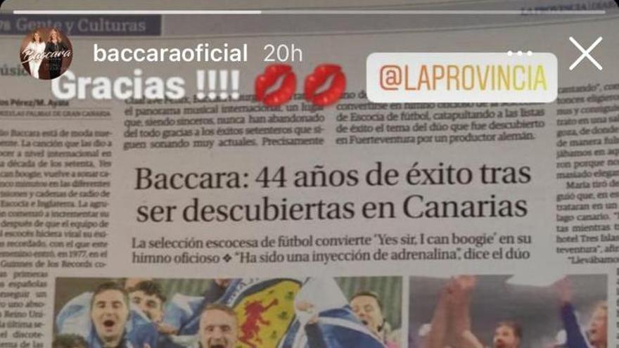 Baccara se hace eco en sus redes del reportaje de La Provincia