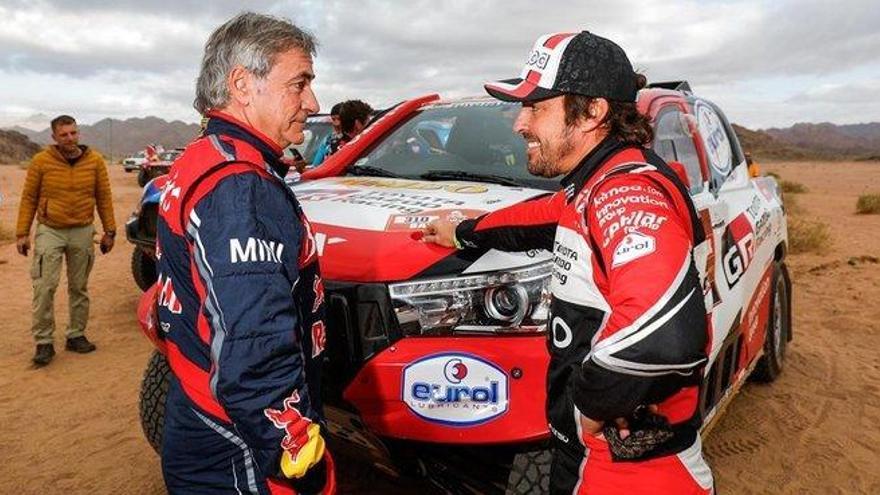 Sainz y Alonso se muestran orgullosos de su actuación en el Dakar