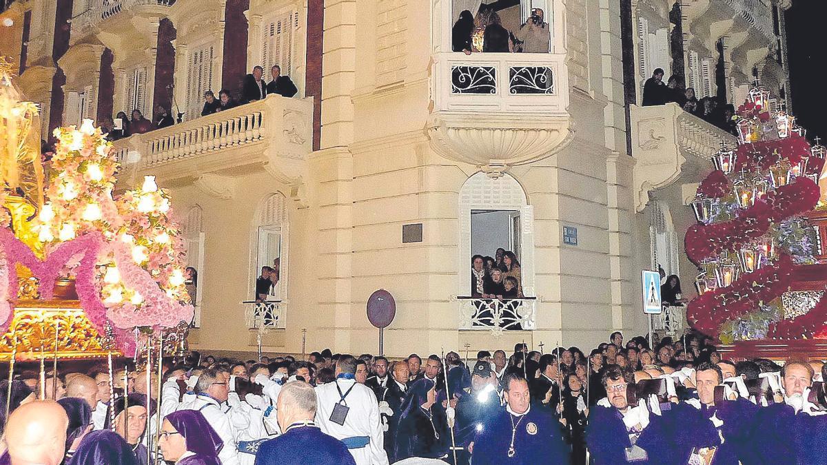 Encuentro de la madrugada del Viernes Santo del 19 de abril de 2019, la última procesión celebrada hasta ahora en Cartagena