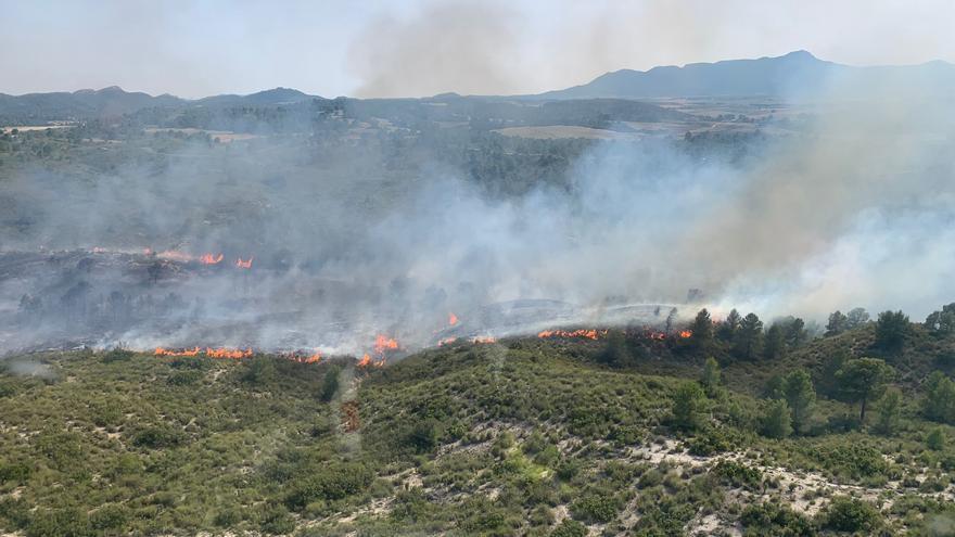 Efectivos de Moratalla consiguen estabilizar el incendio forestal
