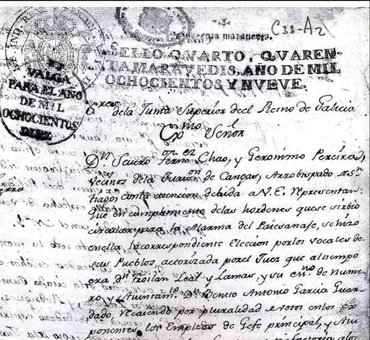 Escrito de Severo Fernández Chao e Gerónimo Pereira ao Marqués de la Romana