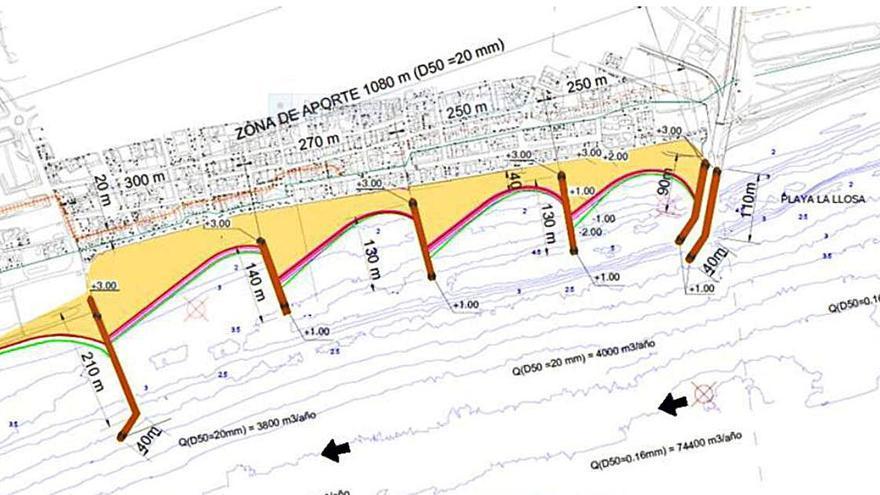 Los espigones previstos al norte de Sagunt suman más de un kilómetro