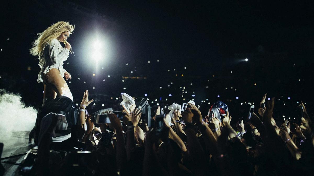Beyoncé, durante una actuación en Barcelona