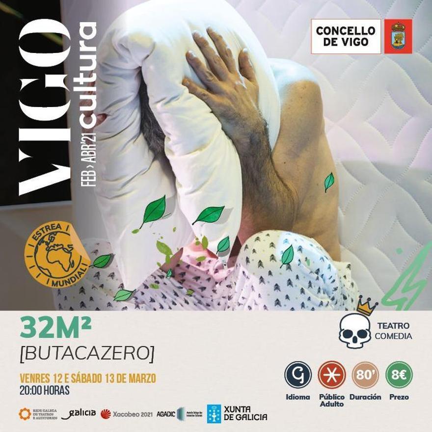 """Cartel de """"32 M²"""" de la programación de VigoCultura 2021"""