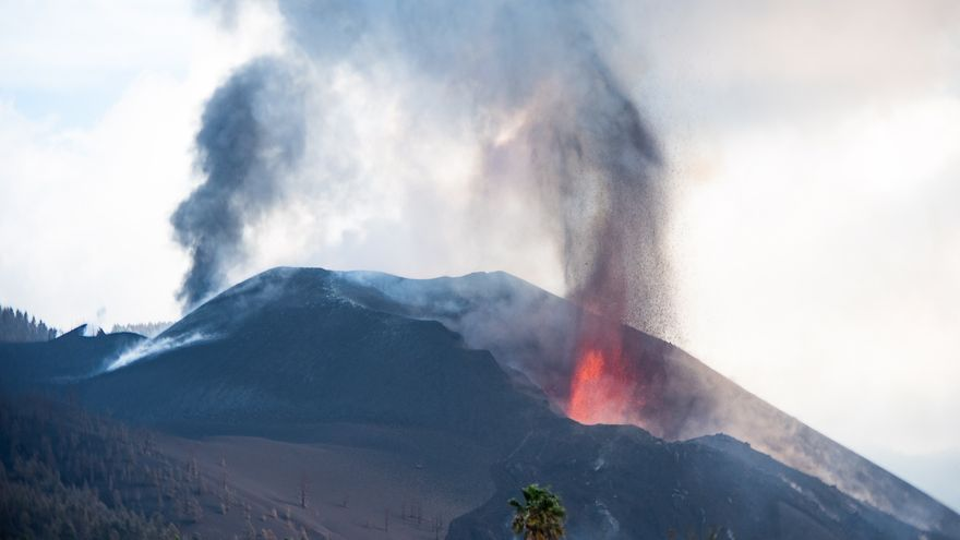 El volcán de La Palma desde el Centro de Interpretación Caños del Fuego