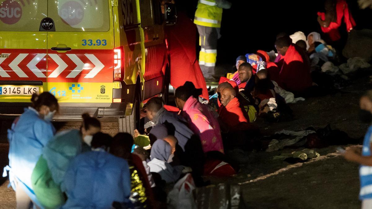 Migrantes llegados a Canarias.