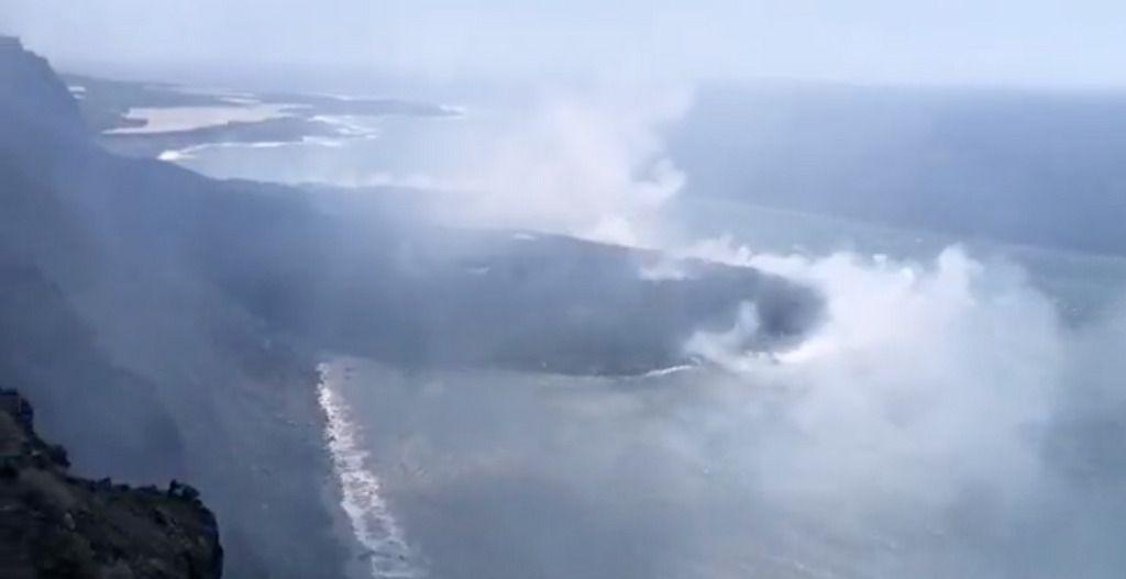 La delta que se ha formado con la lava de La Palma.