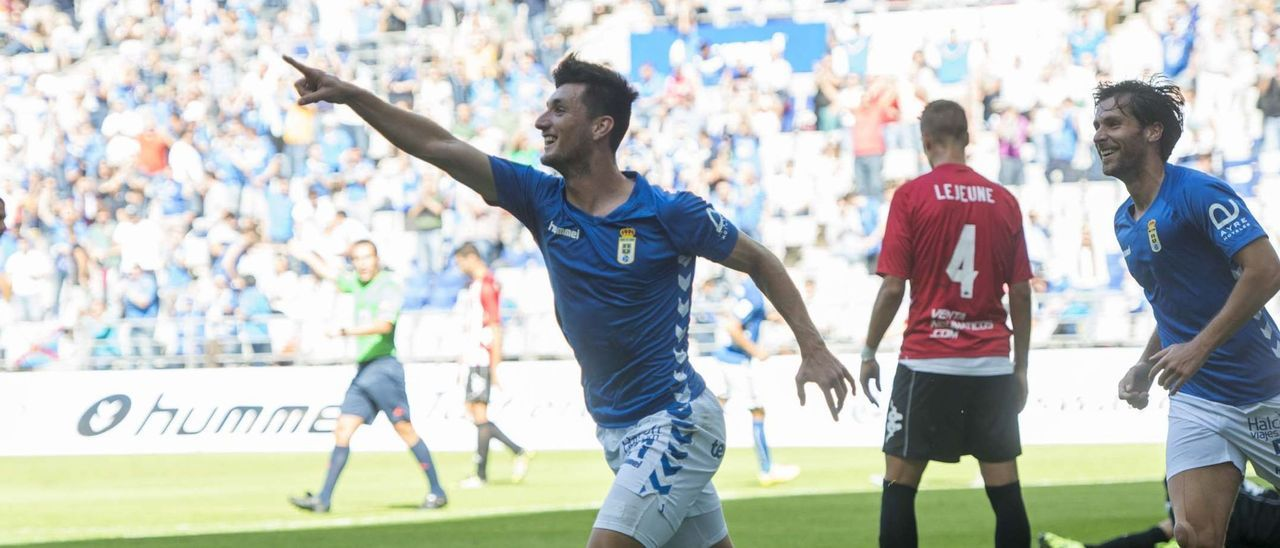 Borja Valle, tras anotar un gol ante el Girona