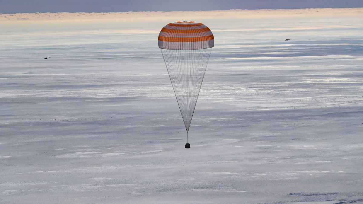 The Soyuz MS-17 spacecraft with three crew members on board lands in the Kazakh steppe.