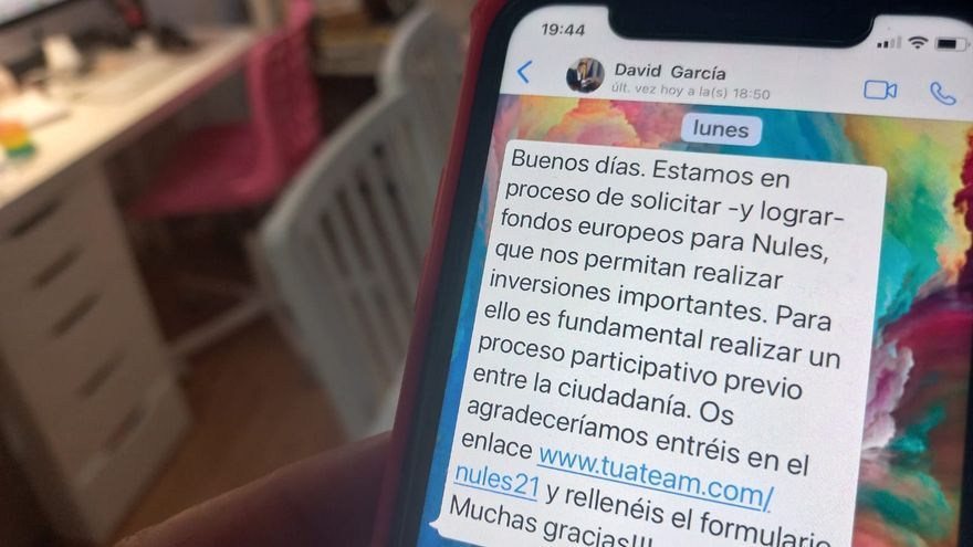 Un alcalde de Castellón tira de WhatsApp para dar participación a los fondos europeos