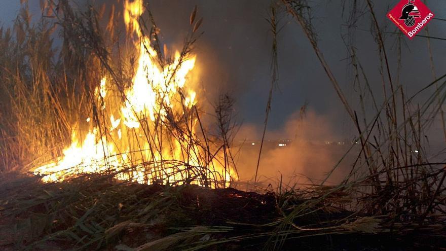 Los bomberos sofocan un incendio junto a la A-7 a la altura de Orihuela