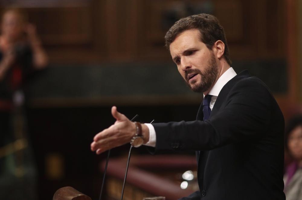 El presidente del PP, Pablo Casado, interviene ...