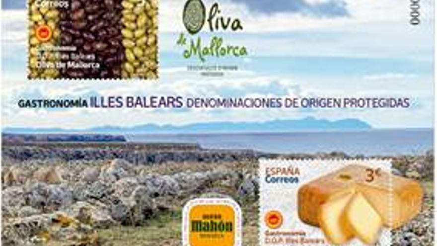 Correos emite dos sellos dedicados a las olivas de Mallorca y al queso de Mahón