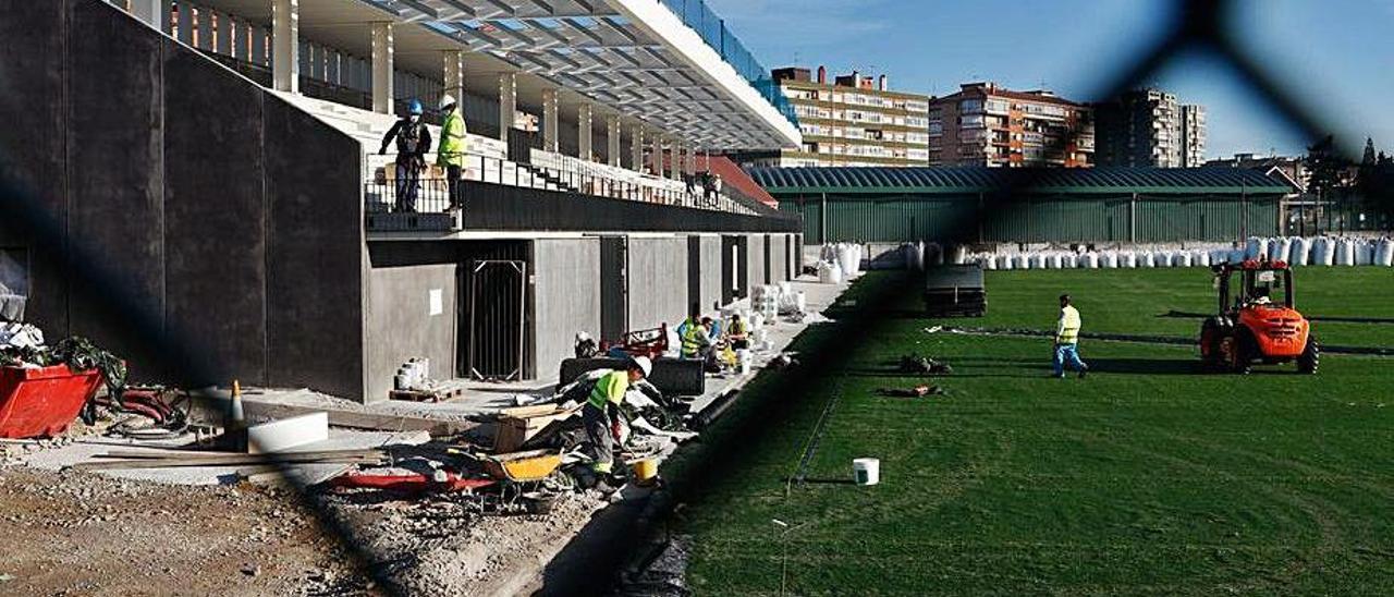 Los trabajadores, en las gradas del nuevo Ferrota, ayer.   Mara Villamuza