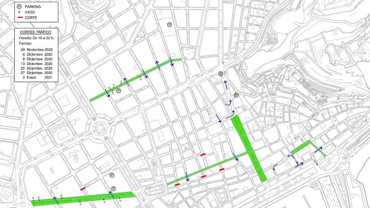 Plano de las calles que se peatonalizarán los domingos de Navidad en Alicante