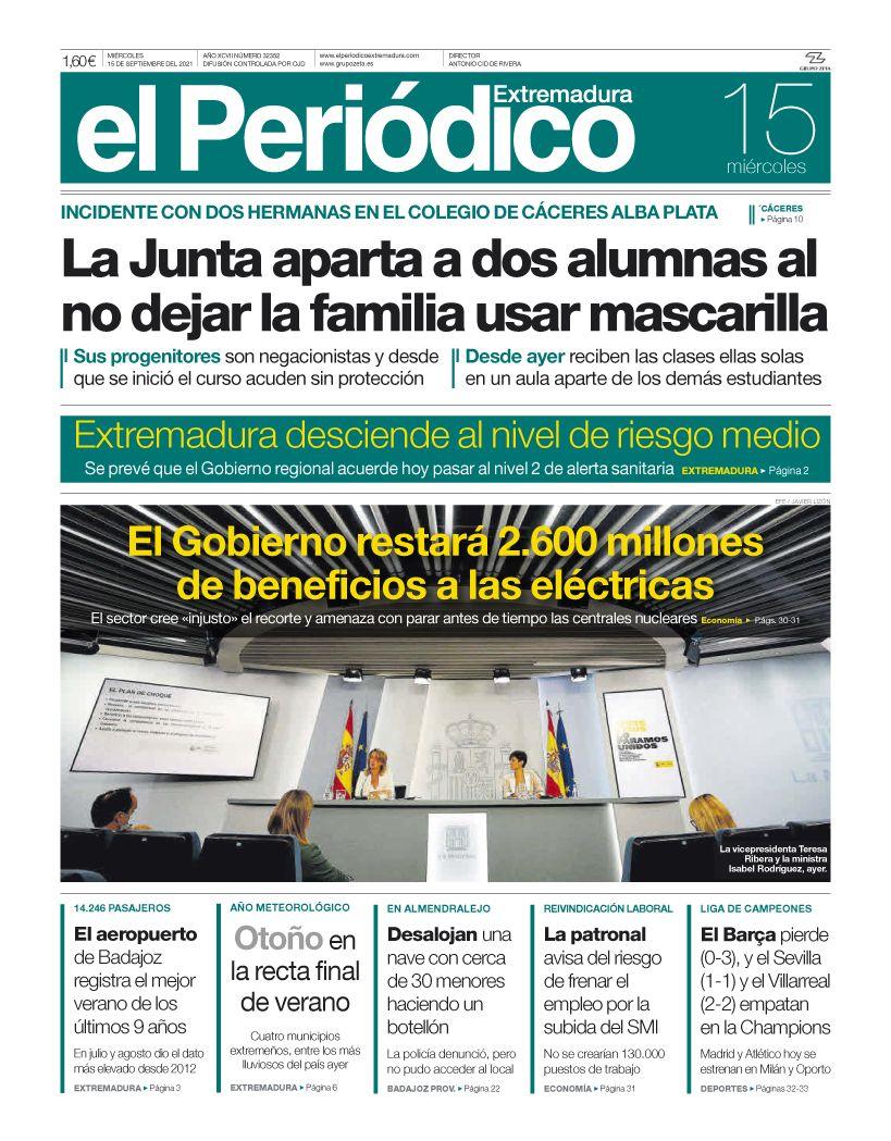 Consulta la portada correspondiente al día 15 de septiembre del 2021