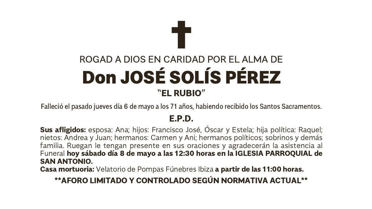 Esquela José Solís Pérez