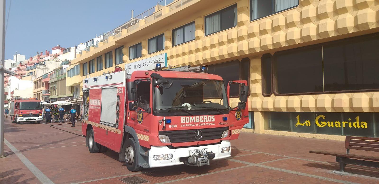 Incendio en un hotel en obras de Las Canteras