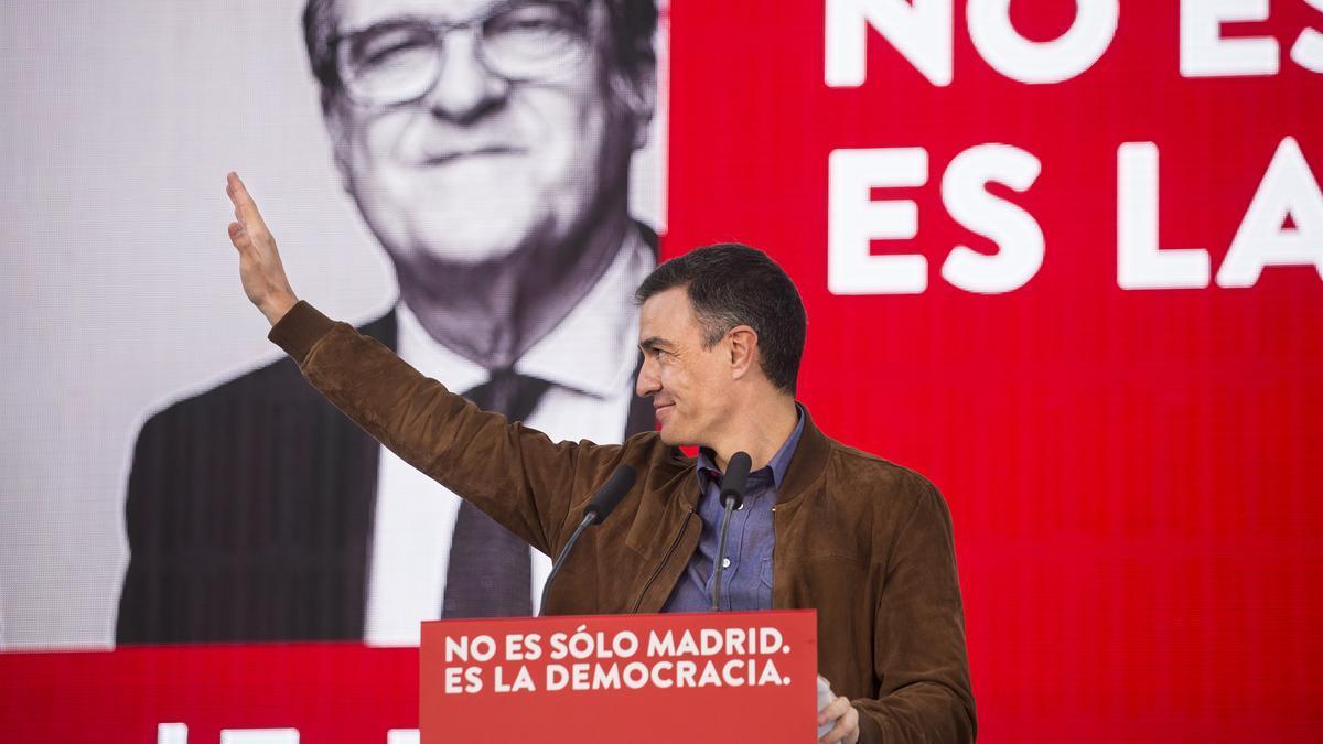 Pedro Sánchez, durante un acto de campaña por el 4M.