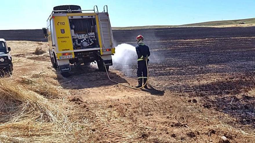 El incendio calcina más de nueve hectáreas en una parcela próxima a Monte la Reina en Toro