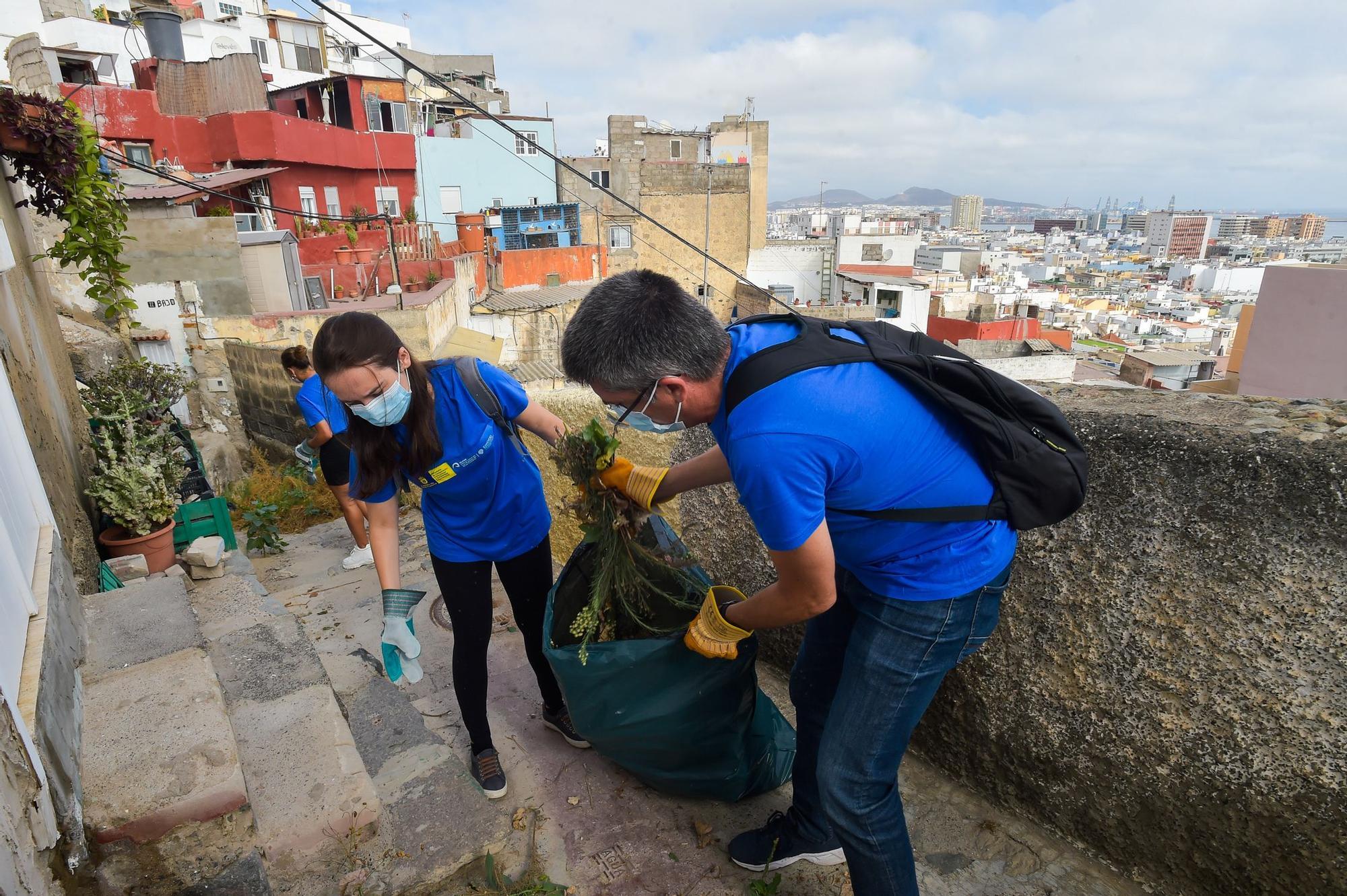 Alumnos de la ULPGC participan en las tareas de limpieza y embellecimiento en El Risco