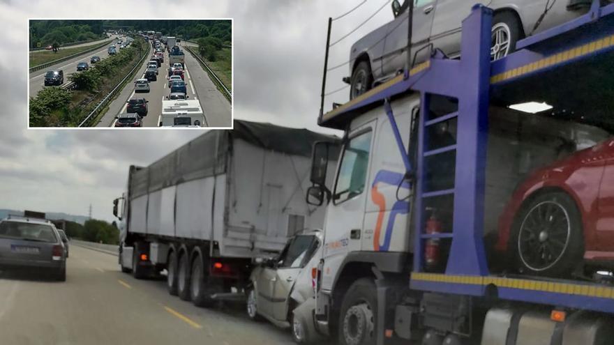 """Monumental atasco en la autopista: los conductores se quedan atrapados durante más de una hora en la autopista """"Y"""""""