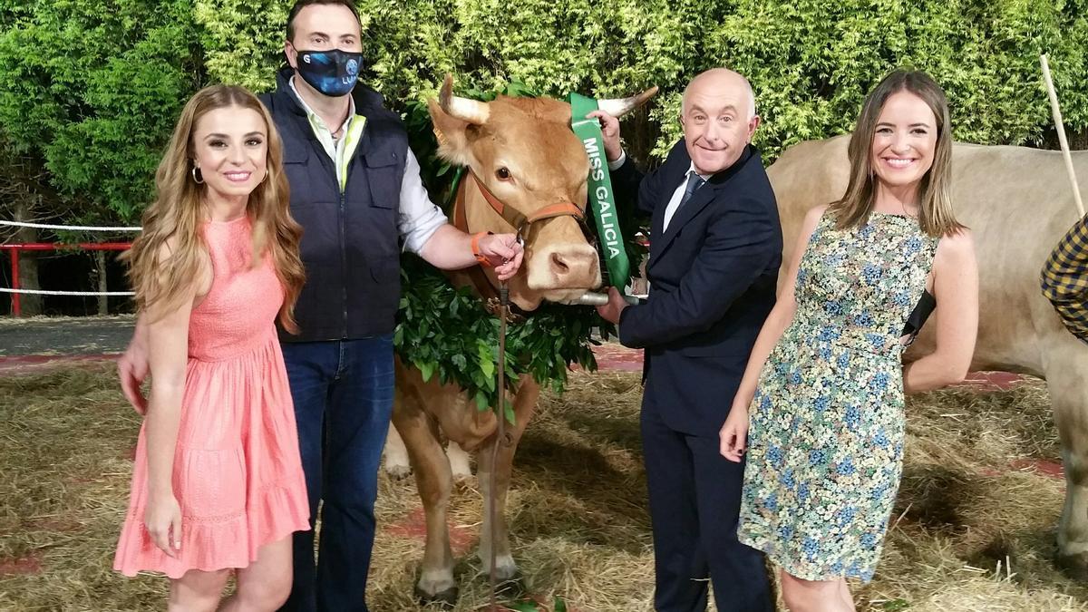 Xose Ramón Gayoso co Teixa, la Miss Vaca 2021