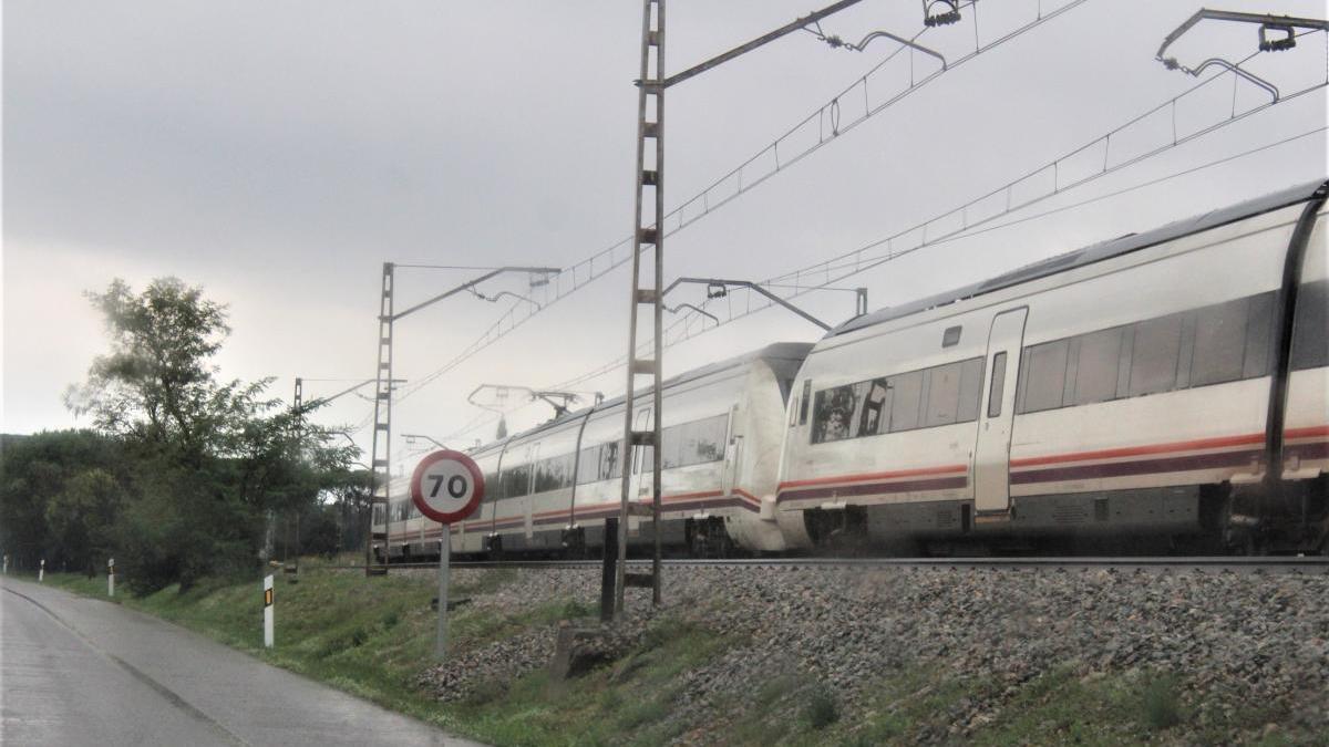 Un tren de Renfe al seu pas per Figueres.