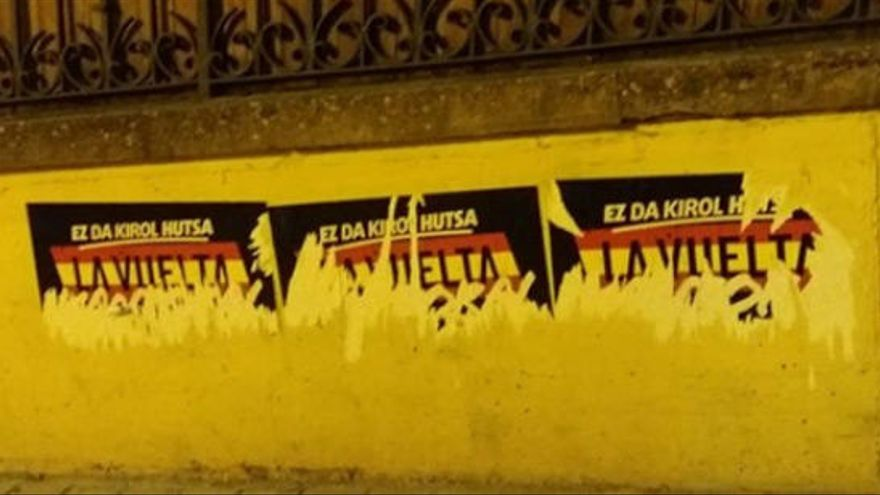 Pintadas por la amnistía de presos de ETA en nueve coches de la Vuelta