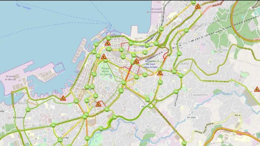 Cámaras de tráfico de Vigo que vigilarán el carril bici