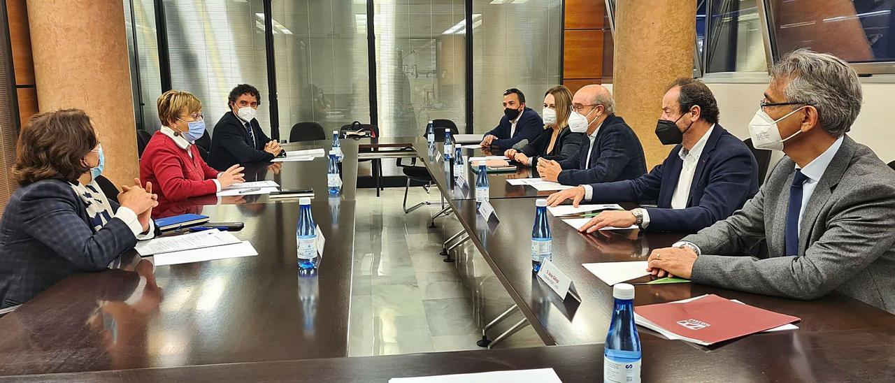 Un instante de la reunión mantenida entre la consellera de Sanidad y directivos de Hosbec, en la que también participó Colomer