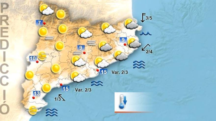 Segueixen els intervals de núvols i baixen les temperatures aquest dimecres