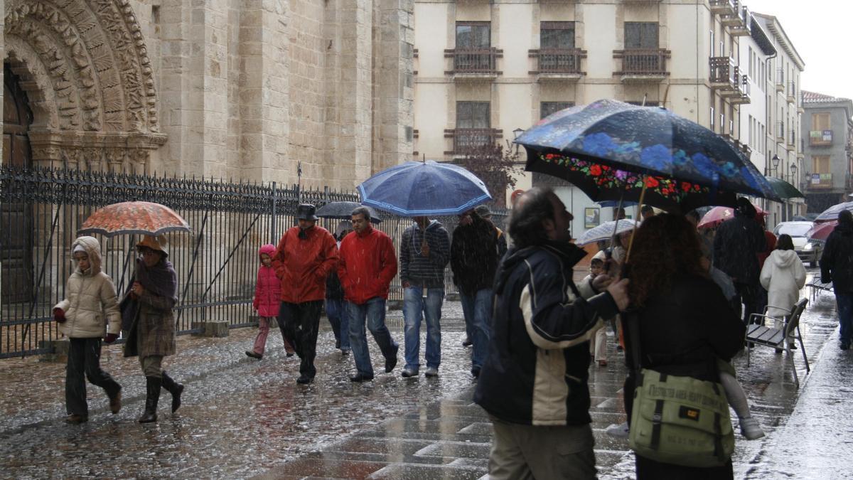 Zamora en un día de lluvia