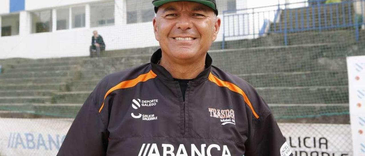 Andrés Espinoza, durante un entrenamiento esta semana en las instalaciones del Marcote. // Alba Villar