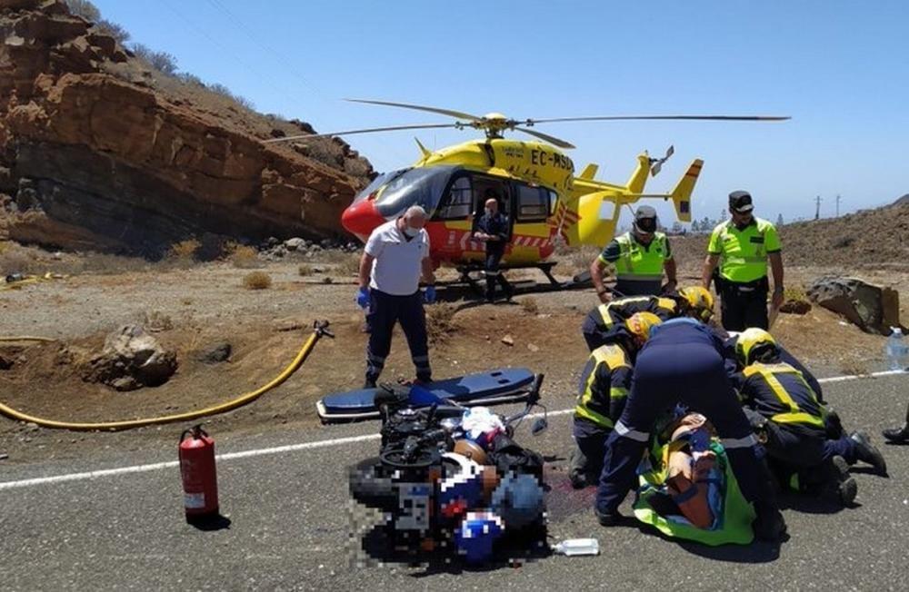 Accidente de dos motoristas en Temisas