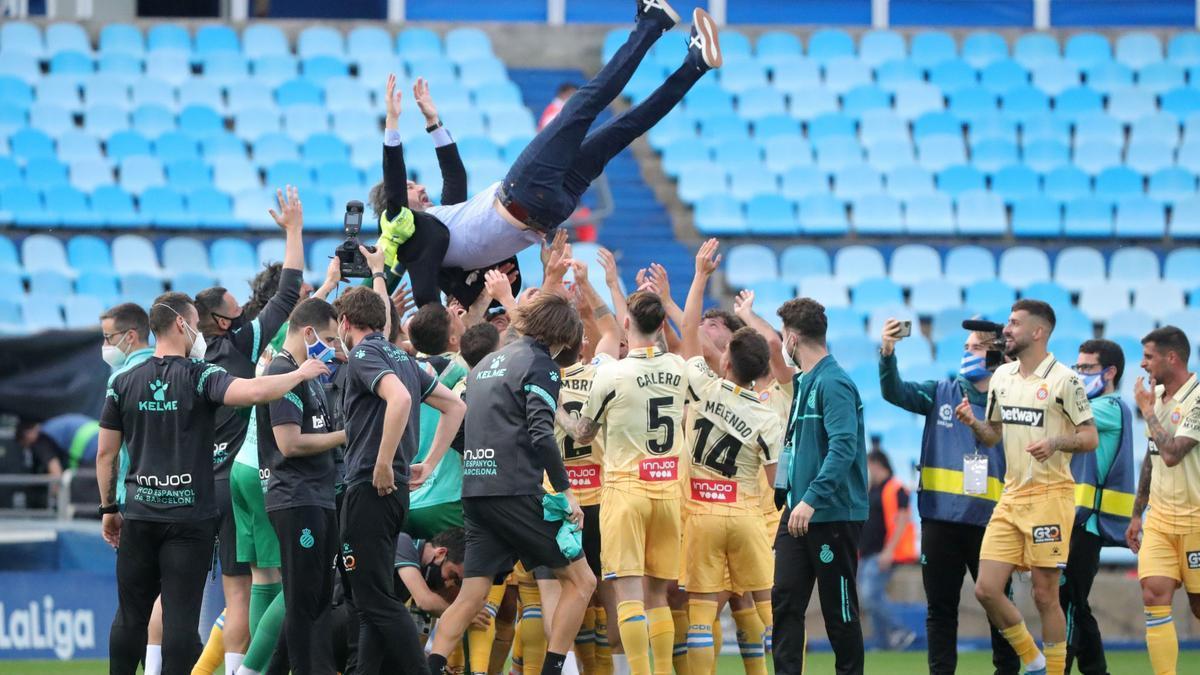 El Espanyol celebra el ascenso a LaLiga Santander.
