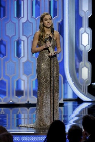 "Larson speaks after winning Best Actress - Motion Picture, Drama for her performance in ""Room"", at the 73rd Golden Globe Awards in Beverly Hills"
