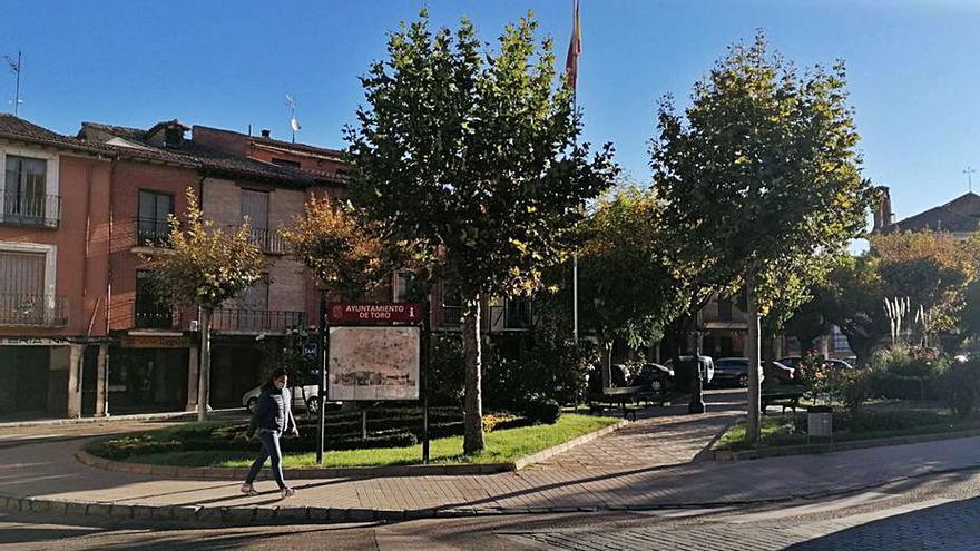 Obras retira el vallado perimetral en los jardines de la plaza Santa Marina de Toro