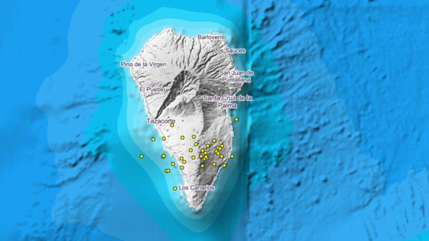 El Involcan detecta 89 seísmos en dos días en el volcán Cumbre Vieja