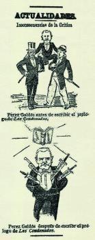 Caricatura de Galdós en 'La Unión Mercantil'.