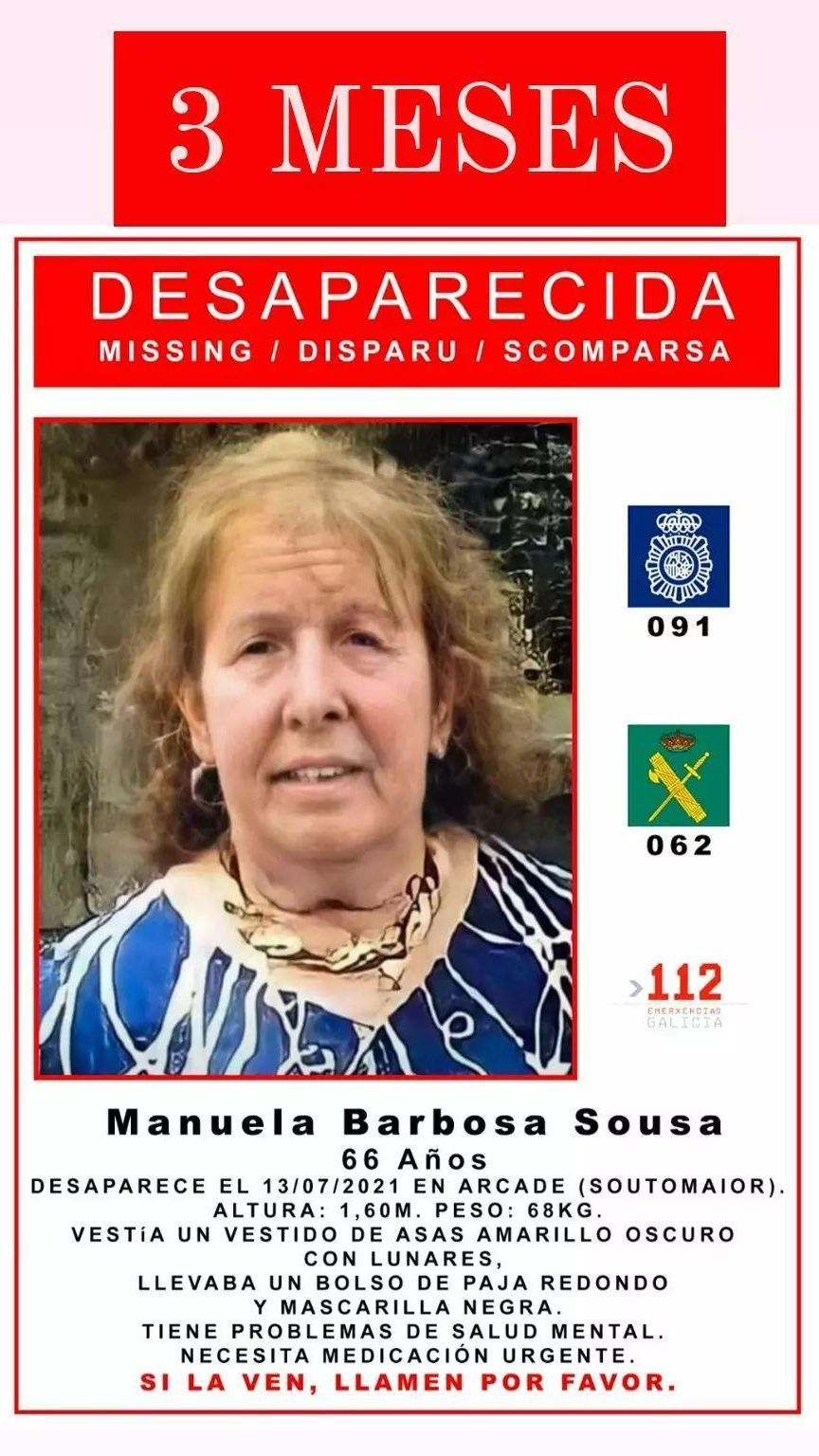 Cartel de la mujer desaparecida.