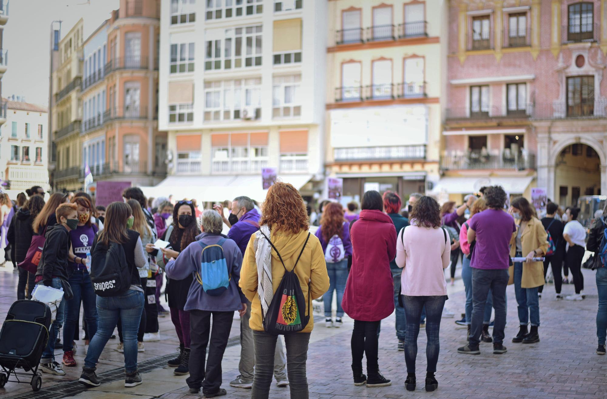 Manifestación por el 8M en las calles del Centro de Málaga