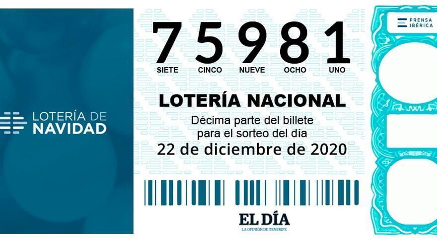 Tenerife, agraciada también con el número 75981, primer Cuarto Premio