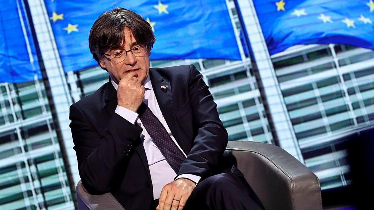L'expresident de la Generalitat Carles Puigdemont, ahir a Brussel·les