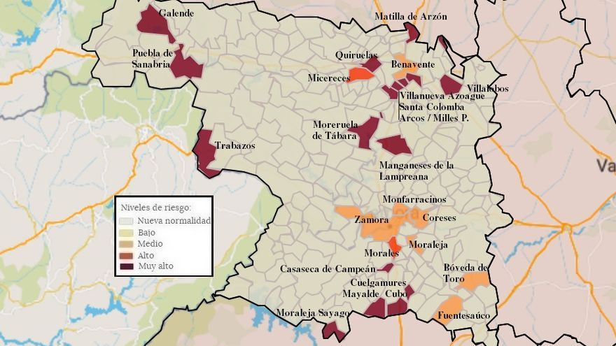 Mapa de coronavirus de Zamora, hoy, jueves | La capital, de nuevo con menos de cien casos de incidencia, y Toro en nueva normalidad