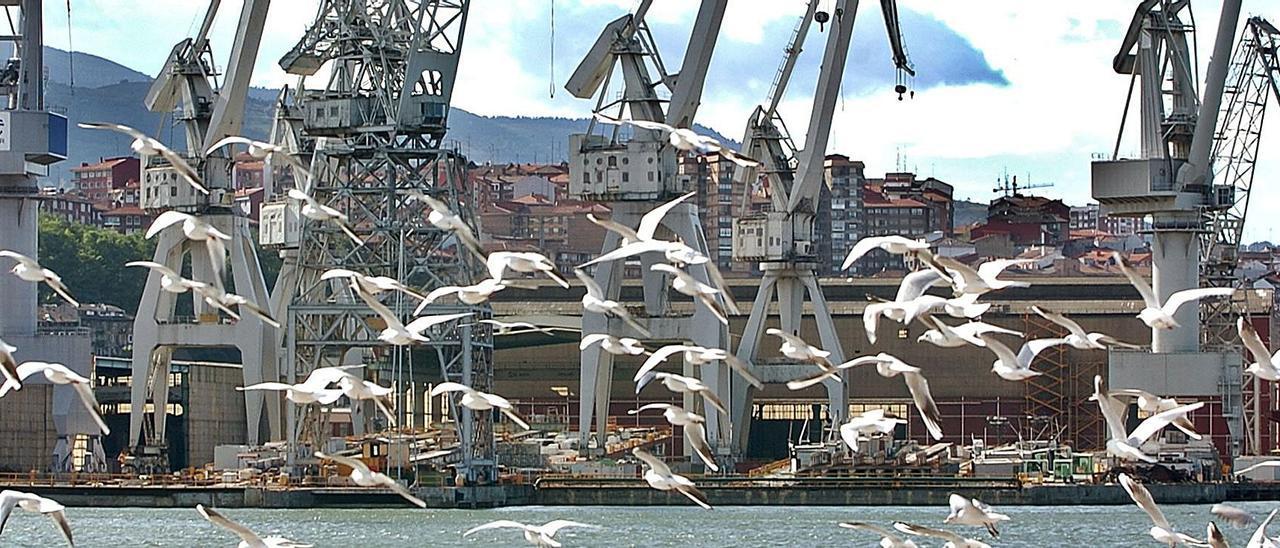 Instalaciones de Construcciones Navales del Norte, tras una bandada de gaviotas, en Sestao