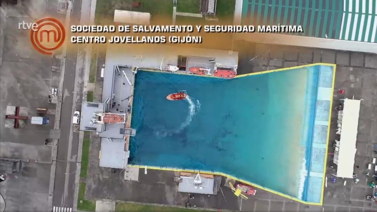 Vista aérea ofrecida por Masterchef de las instalaciones de Veranes de Salvamento Marítimo.